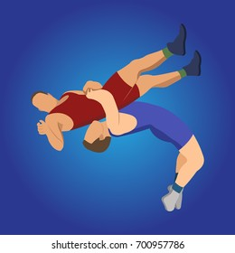 Wrestling vector, 3D Isometric Athlete. Sporting Championship People Competition. Sport Infographic