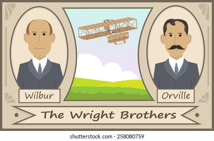 The Wright Brothers - Cartoon illustration of the Wright brothers and their glider. Eps10
