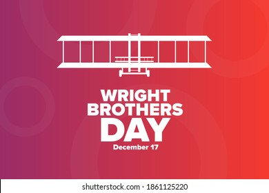 Wright Brothers Day. December 17. Holiday concept. Template for background, banner, card, poster with text inscription. Vector EPS10 illustration