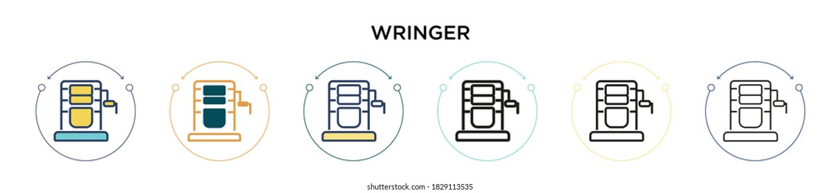 Wringer icon in filled, thin line, outline and stroke style. Vector illustration of two colored and black wringer vector icons designs can be used for mobile, ui, web