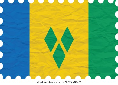 wrinkled paper saint vincent and the grenadines stamp, abstract vector art illustration, image contains transparency