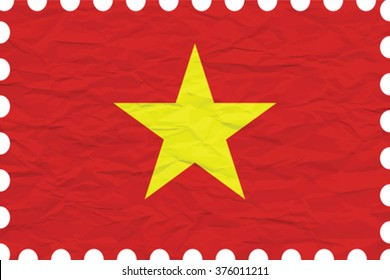 wrinkled paper vietnam stamp, abstract vector art illustration, image contains transparency