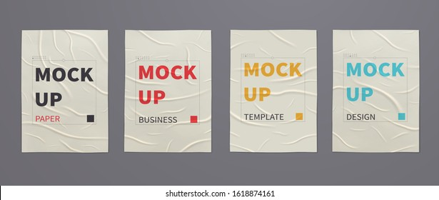 Wrinkled wet posters mockups of crumpled sheets of paper. Set of advertising templates for design.