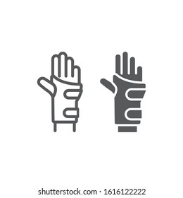 Wrist brace line and glyph icon, orthopedic and medical, arm bandage sign, vector graphics, a linear pattern on a white background, eps 10.