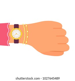 Wrist watch with diamonds on the hand of a business lady. Girl with clock and bracelets checks time .. Flat design, vector illustration isolated on white background.
