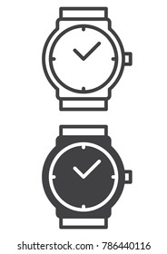Wrist watch icon, line and solid version, outline and filled vector sign, linear and full pictogram isolated on white. Wristwatch symbol, logo illustration. Pixel perfect vector graphics