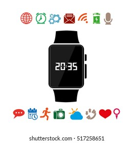 wrist watch icon vector illustration eps10. Isolated badge  clock time for website or app - stock infographics