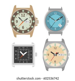 Wrist watch icons. Vector set of classic mechanical wristwatch and analog clock face with hour, minute or second arrows and date box
