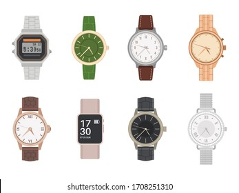 Wrist watch. Mens and womens mechanical, digital and smart watches with different bracelets and straps classy design flat isolated vector set