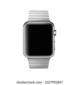 Wrist watch mockup isolated on white background. Display your design on this smart watch mockup. Vector illustration