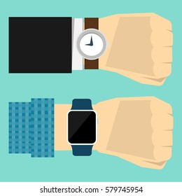 Wrist watch on hand of businessman in suit and wrist watch on hand in checkered shirt. Time on wrist watch. Flat design. Vector illustration.