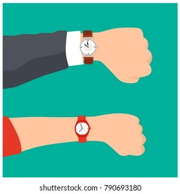 Wrist Watch On Man and Woman Hand. Time On Wrist Watch. Flat Cartoon Style Vector Illustration.