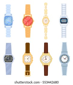Wrist watch set isolated on white background vector illustration. Man and woman, digital and classic hand watch collection in flat design. Cartoon wrist watch with bracelet colorful element.