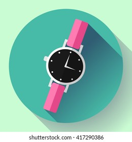 Wrist watches Smart Clock icon. Flat design style.