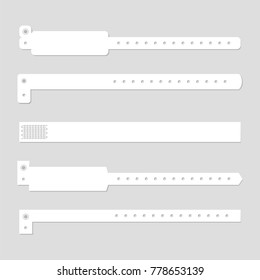Wristband template set. Stock vector illustration of blank clean white bracelets for music perfomance, dance, live concert, sport events, fan zone entrance. Mockup collection.