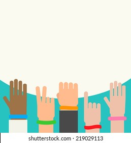 wristbands on human hands background vector illustration