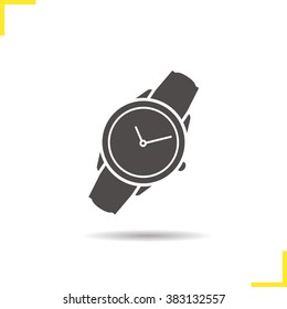 Wristwatch icon. Drop shadow watch icon. Men's hand watches accessory. Classic wrist watch icon. Isolated wristwatch black illustration. Watch logo concept. Vector wrist watch silhouette  symbol