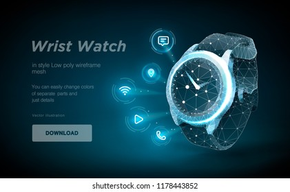 Wristwatch low poly wireframe art on black backgraund. Presentation of smart clock functions in the form of a starry sky. Polygonal illustration with connected dots and polygon lines. 3D vector