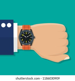 Wristwatch on the hand of businessman in suit. Time on wrist watch. Man with clock checks the time. Vector illustration in flat design