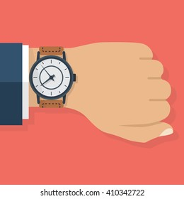 Wristwatch on the hand of businessman in suit. Time on wrist watch. Man with clock checks the time. Hand with clock isolated on background. Flat design, vector illustration.