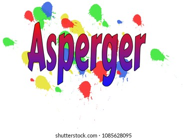 The write Asperger, written with gradient red to blue letters, on a white background having colorful ink spots - Vector