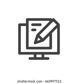 Write blog post line icon, outline vector sign, linear style pictogram isolated on white. Blogging symbol, logo illustration. Thick line design. Pixel perfect graphics