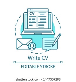 Write CV concept icon. Resume, curriculum vitae idea thin line illustration. Sending job application and resume. Sign up, registration. Vector isolated outline drawing. Editable stroke