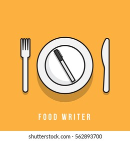 write food review concept. writing about dining and eating setup. vector illustration of a pen, fork, knife and plate. minimal vector graphic.