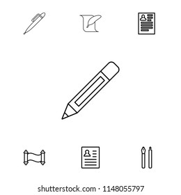 Write icon. collection of 7 write outline icons such as resume, pen, manuscript, pencil. editable write icons for web and mobile.