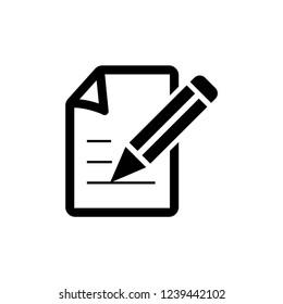 Write a Note Icon - Black color