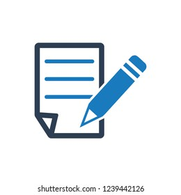 Write a Note Icon - Black on a white background