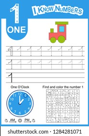 Write numbers 1. Kids learn to count worksheet. Children educational game for numbers learn and clock. Kids background with vehicles. Vector illustration.