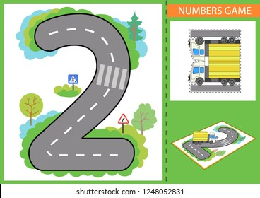 Write numbers. Children educational game for numerals learn. Kids background with road and paper car. Wallpaper for childrens room. Background for gaming car. Maze with road signs. Vector illustration