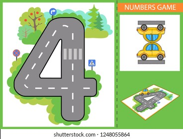 Write numbers. Children educational game for numerals learn. Kids road and a paper toy car. Wallpaper for childrens room. Background for gaming car. Maze with road signs. Vector illustration.