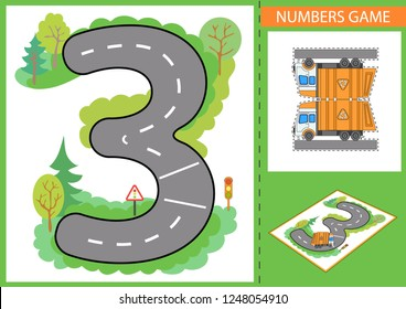 Write numbers. Children game for numerals learn. Kids background with road and paper garbage truck. Wallpaper for childrens room. Background for gaming car. Maze with road signs. Vector illustration.