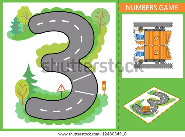 Write Numbers Children Game Numerals Learn Stock Vector Royalty Free 1248054910