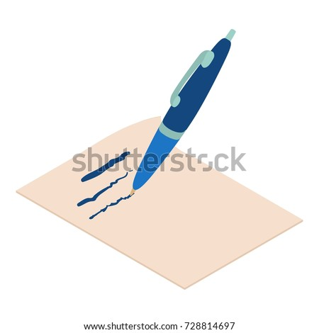 Write Pen Icon Isometric Illustration Write Stock Vector Royalty