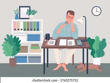 Writer at home flat color vector illustration. Journalist sit at desk. Man write novel. Creative hobby. Work on manuscript. Freelance author 2D cartoon character with interior on background