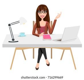 Writer Home Office Blogger Work from Home Desk Laptop Creative Journalist Copywriter Brunette Glasses Female Woman Girl Character Design Logo Illustration Avatar Student Sitting Coffee Vector Graphic