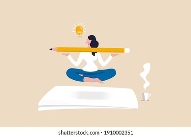 Writer inspiration, blogger, copywriter or journalist creativity concept, young woman writer meditate on blank paper and holding big pencil thinking about idea to write in her blog or journal.