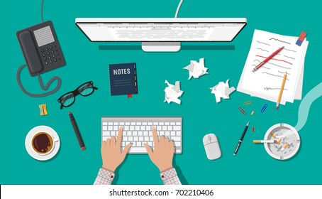 Writer or journalist workplace. Desktop pc, keyboard, mouse. Paper sheets on working table with text, pen, pencil. Ashtray, cigarette, coffee cup. Eyeglasses phone. Vector illustration in flat style