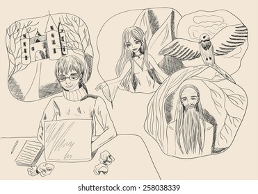 Writer for laptop and images over his head. Vector illustration