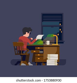 Writer or novelist at work. Flat vector illustration on man at his desk working on a typewriter writing a book or a novel