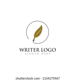 writer pen logo feather for education, law