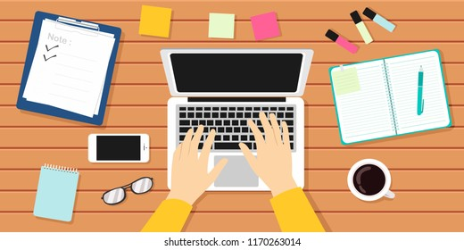 Writer Workplace Vector Illustration. Author, Journalist, Laptop