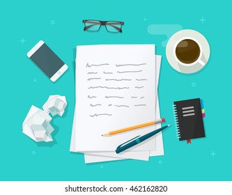 Writer workplace vector illustration isolated on blue background, flat cartoon paper sheets on working table with text, pen and pencil, top view desktop with writing letter