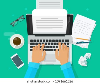 Writer writing on computer paper sheet vector illustration, flat cartoon person editor write electronic book text top view, laptop with writing letter or journal story, journalist author working