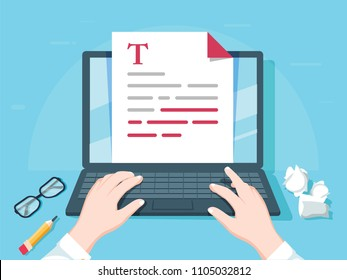 Writer writing on computer paper sheet vector illustration, flat cartoon person editor write electronic book text top view, laptop with writing letter or journal, journalist author working. Blogging