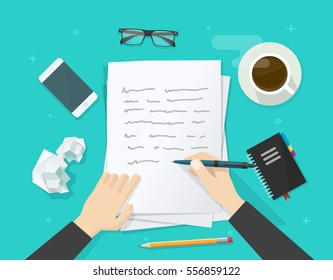 Writer writing on paper sheet vector illustration, flat cartoon person hands with pen on working table with text, workplace top view, desktop with writing letter story, journalist author workspace