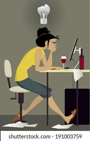 Writer's block. Frustrated woman sitting at her computer with a bottle of wine, staring in the monitor, broken light bulb over her head